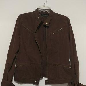 Brown Dkny zipper pocket jacket